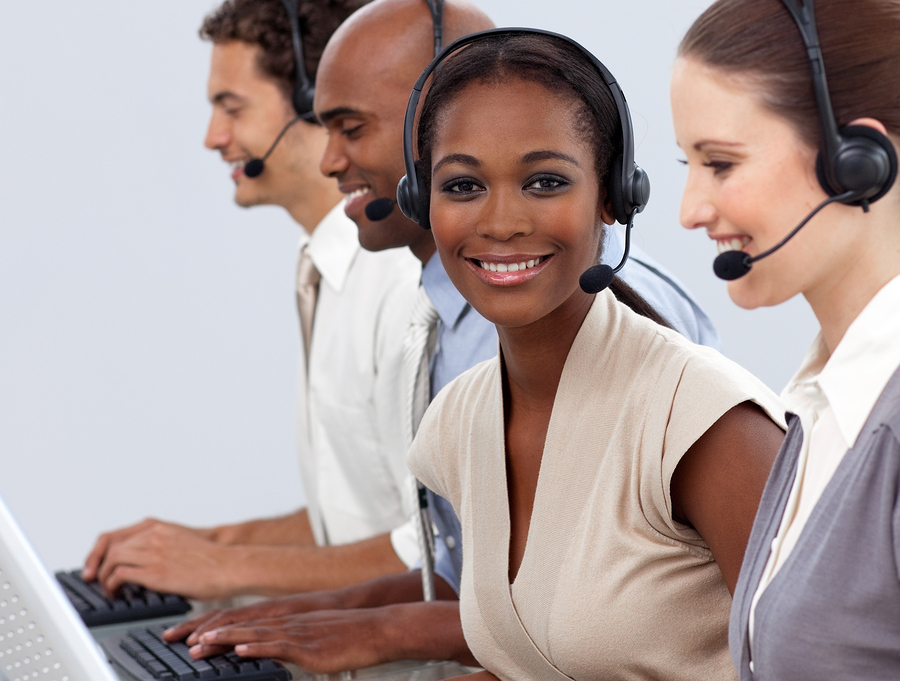 Business co-workers showing diversity in a call center